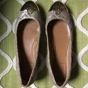 Tory Burch Gold Kaitlin Quilted Flats